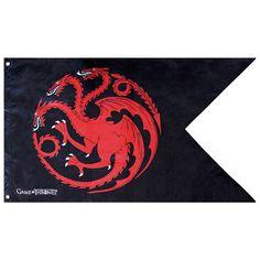 Drapeau Game of Thrones Noir Targaryen 120x70cm 2 Pointes