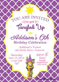 Rapunzel Tangled Birthday Party Digital Invitation  by partyhardydesigns