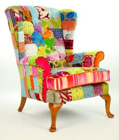 Made to order: * vintage Parker Knoll wing back armchair in patchwork style * newly upholstered in designer pieces of velvets such us Designers