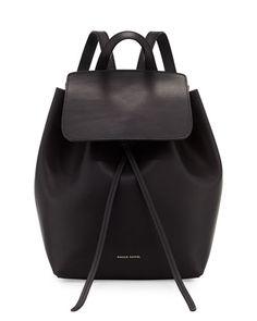 4c34adaa3d Mansur Gavriel - Mini Coated Leather Backpack, Black/Flame, $585 Black  Leather Backpack