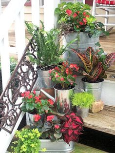 Porch Steps Container Gardens and Accessories