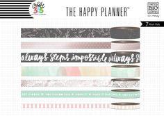 Me & My Big Ideas® Create 365 Happy Planner lets you put together a book in which you can keep track of all the things that are going on in your life. Washi tape rolls with coordinating designs; flowe
