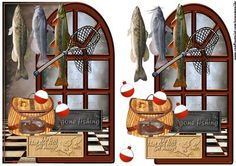 Over the edge male card Gone Fishing on Craftsuprint designed by Marijke Kok - Over the edge male card Gone Fishing,for a great male card! - Now available for download!