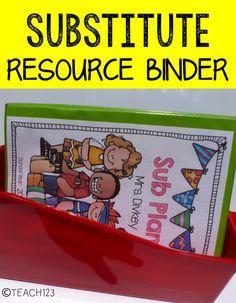 Teach123 - tips for teaching elementary school: Sub Plans Resource Binder