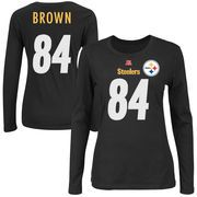 e784e1b694b Antonio Brown Pittsburgh Steelers Majestic Women s Fair Catch Name   Number  Long Sleeve T-Shirt - Black