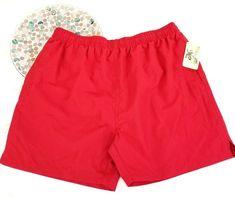 NWT Castaways Mens Swim Trunk Size XL 40/42 Red Mesh Lined Pockets o120 #Castaways #Trunks