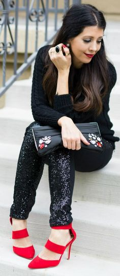Black Front Sequin Trousers #Fashionistas