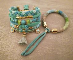 Bohemian bracelet, gypsy bracelet set in turquoise and seafoam colors made with two stacked bracelets. The one is crochet tube bangle made using natural linen yarn and color cotton threads. The second multistrand bracelet is made with t-shirt yarn, turquoise beads, acrylic rondelles,