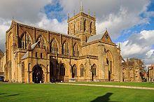 the exterior of Sherborne Abbey, Dorset, England