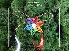 Circul Magic - Martisoare Quilling 2017 -  Floare Curcubeu Magic, Christmas Ornaments, Holiday Decor, Quilling Flowers, Floral, Home Decor, Flowers, Christmas Ornament, Interior Design