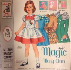 Vintage 1960 Magic Mary Ann Magnetic Paper Doll from Milton Bradley Co
