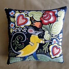 Hearts and Flowers Yellow Coat Mouse Beaded Art by thebeadedpillow, $50.00