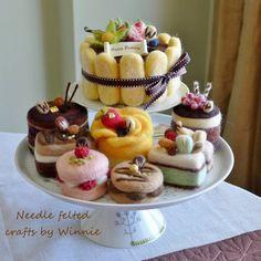 Needle felted cake Tiramisu by FunFeltByWinnie on Etsy, $98.00