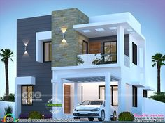 Modern Houses Discover 3 BHK cute modern house 1550 sq-ft 1550 square feet 3 bedroom modern contemporary house plan by Dream Form from Kerala. Modern Small House Design, Modern Exterior House Designs, Modern Architecture House, Modern House Facades, Exterior Design, Architecture Design, House Exteriors, Sustainable Architecture, Architect Design House
