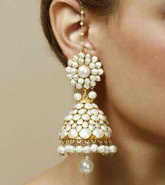 Pearl Embellished Jhumki Earrings by Indiatrend Shop Indian Jewelry Earrings, Jhumki Earrings, Indian Wedding Jewelry, India Jewelry, Ethnic Jewelry, Bridal Jewelry, Gold Jewelry, Jewellery, Jewelry Patterns