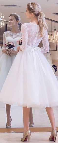 Super cute vintage wedding dress! This 3/4 Sleeves Wedding Dress Tea Length Summer Bridal Gown is perfect for an outside  ceremony in these hot days. See Now at : http://www.cutedresses.co/go/Tea-Lenght-Summer-Wedding-Dress