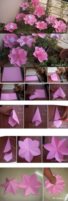 Paper Flowers -Party Decoration Tutorial --- flowers for a poster like butterflies (Diy Paper Making) Large Paper Flowers, Tissue Paper Flowers, Giant Paper Flowers, Diy Flowers, Fabric Flowers, Hanging Flowers, Wedding Flowers, Paper Dahlia, Origami Flowers
