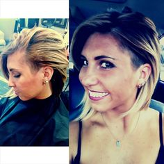 Long ombre bob with a shaved side