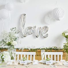 """When gathering your party decoration supplies you can display your amazing decorating skills with this gold or silver cursive """"love"""" foil balloon. Balloon Centerpieces Wedding, Balloon Decorations Without Helium, Gold Wedding Decorations, Wedding Props, Wedding Balloons, Bridal Shower Decorations, Decor Wedding, Wedding Favors, Wedding Ideas"""