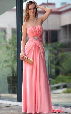 Pink Sexy Off Shoulder Floor Length Pleated Gowns Evening Dress