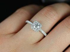 Mikena14kt White Gold Cushion Halo Diamond by RosadosBox on Etsy, $1625.00    I do!