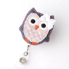 Denim and Pink Owl  Name Badge Holder  Cute Badge by BadgeBlooms, $6.50