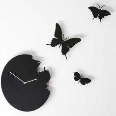 Butterfly Clock by Diamantini & Domeniconi - black