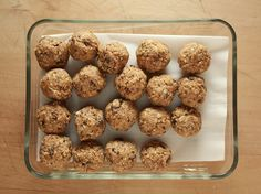 Power Balls recipe from Trisha Yearwood via Food Network.  I make these all the time, and add a dash of Chia seeds, and Wheat germ.  They do satisfy hunger, and taste like a candy bar! Very good!