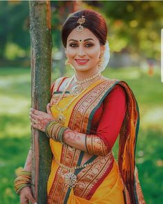 I've dolled her up on few commercial shoots but it was something special to get her ready as a bride . Marathi Bride, Marathi Wedding, Hindu Bride, Saree Wedding, South Indian Weddings, South Indian Bride, Indian Bridal, Kerala Bride, Nauvari Saree