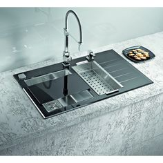Dimensions: 860 x 540 x glass kitchen sink, inset, one and a half bowl with drainer, hand-crafted from toughened glass and premium stainless steel material. Available in white and black glass. Vintage Kitchen Sink, Modern Kitchen Sinks, Steel Kitchen Sink, Cute Kitchen, Glass Kitchen, Stainless Steel Kitchen, Unique Bathroom Sinks, Bathroom Sink Design, Kitchen Sink Design