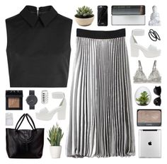"""Monochrome for business."" by novalikarida ❤ liked on Polyvore featuring McQ by Alexander McQueen, ASOS, PLANT, NARS Cosmetics, STELLA McCARTNEY, Native Union, Caran D'Ache, Uniform Wares, Ray-Ban and Goody"