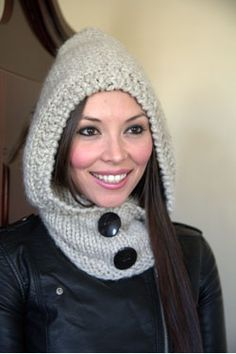 Encore Mega | Plymouth Yarn knitted hooded cowl. Uses 3 skeins of super bulky Encore Mega yarn at 64 yds each skein