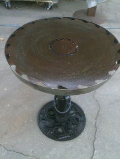 24 steel saw blade end/side table by ejrecycled on Etsy, $230.00