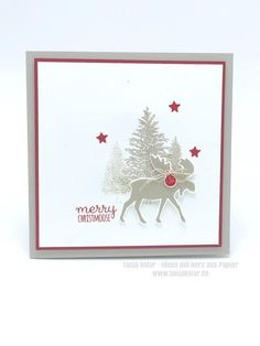 Stamped Christmas Cards, Stampin Up Christmas, Christmas Cards To Make, Christmas Settings, Xmas Cards, Holiday Cards, Christmas Moose, Christmas 2019, Merry Christmas