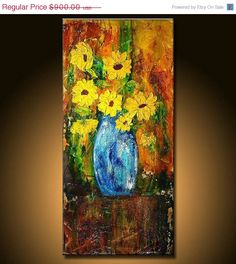 Floral Painting Original large textured by newwaveartgallery, $810.00