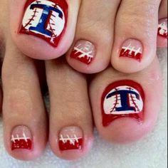 I don't do pedicures but I do LOVE LOVE LOVE Texas Rangers so this almost inspires me to do a pedicure!!