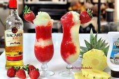 The Miami Vice Cocktail - Strawberry Daquiri Mix - 2 oz Bacardi 151 2 cups strawberries 1 1/2 oz simple syrup 1/2 oz grenadine -Piña Colada Mix- 2 oz Bacardi 151 1 1/2 oz cream of coconut 1 1/2 oz pineapple juice