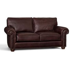 Webster Leather Love Seat Vintage Tobacco, Down Blend Wrapped Cushions