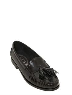 TOD'S - 20MM CITTÀ BRUSHED LEATHER LOAFERS - LUISAVIAROMA - LUXURY SHOPPING WORLDWIDE SHIPPING - FLORENCE