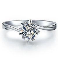 1CT Snow Flake estilo sólido del oro blanco 18 K de diamante sintético 18 K oro anillo de la joyería AU750 oro mujeres amatista anillo