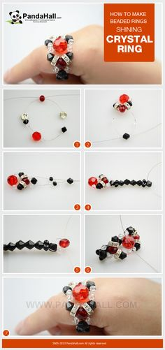 How to make beaded rings- shining crystal ring