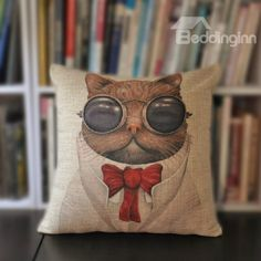 New Arrival Lovely Kitten Wearing Glasses and Bow Tie Print Throw Pillow Case  @bedding inn