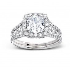 Split Shank Engagement Rings : Split Shank Pave Set Halo Diamond Engagement Ring by Sareen Jewelry