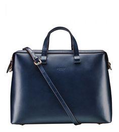 OSPREY LONDON The Richmond Navy Italian Leather Briefcase.