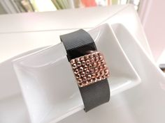 Fitbit Band Bling ~ Fitbit Charge bracelet / Fitbit Charge HR Jewelry Slide-on Accessory - Smoky Bronze Nuggat Bling Charm Cute Fitbit Charm