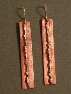 Second Semester Metals Part 1 - Earrings Metal Jewelry Handmade, Enamel Jewelry, Artisan Jewelry, Earrings Handmade, Copper Earrings, Copper Jewelry, Copper Art, Precious Metal Clay, Making Ideas