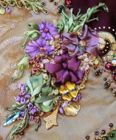 Silk Ribbon Flower bouquet embellished with vintage beads from a Paris flea Market. for ribbon embroidery classes ~ contact, victoria adams brown