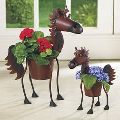 $30.  Rust Metal Horse Planter - Horse Themed Gifts, Clothing, Jewelry & Accessories all for Horse Lovers