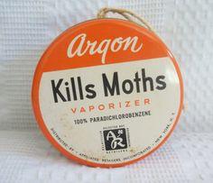 Vintage Argon moth vaporizer tin orange tin by GraceYourNest