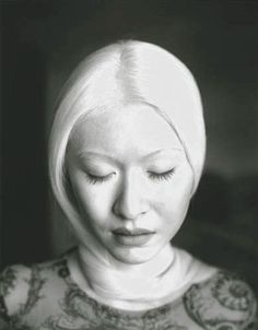 Connie Chiu-albino Chinese model.  albinos are like gods artwork.  i think they are beautiful.  no pigment in their skin but still have features of their ethnic group.